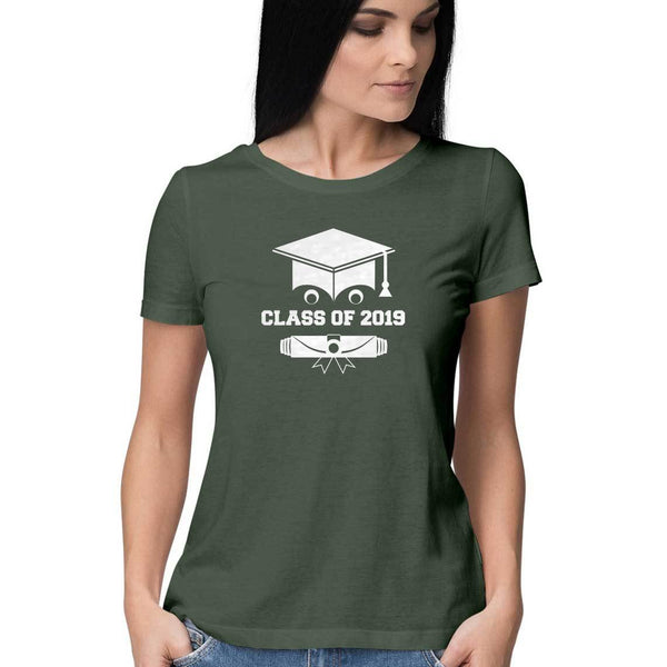 Class of 2019 Smiling Grad Hat and Scroll Womens Feminine Fit T-Shirt Green