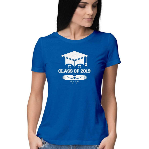 Class of 2019 Smiling Grad Hat and Scroll Womens Feminine Fit T-Shirt Blue