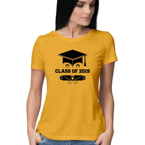 Class of 2019 Smiling Grad Hat and Scroll Womens Feminine Fit T-Shirt yellow