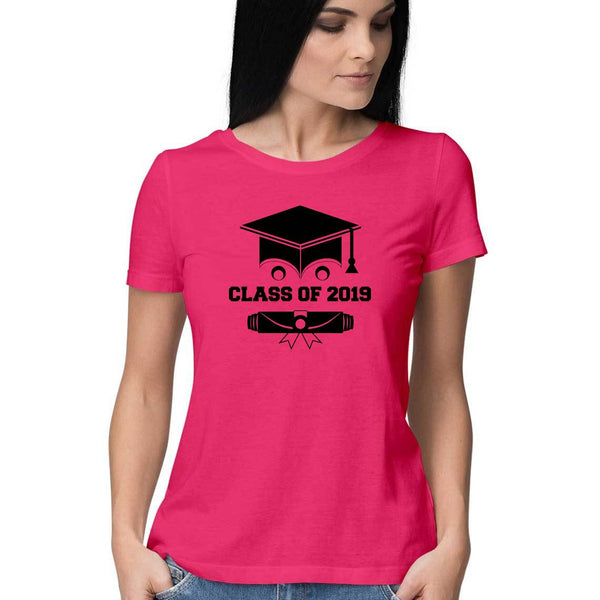Class of 2019 Smiling Grad Hat and Scroll Womens Feminine Fit T-Shirt Pink