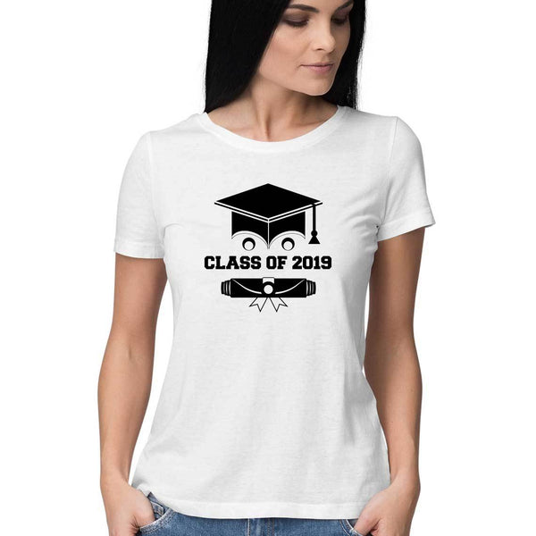 Class of 2019 Smiling Grad Hat and Scroll Womens Feminine Fit T-Shirt White