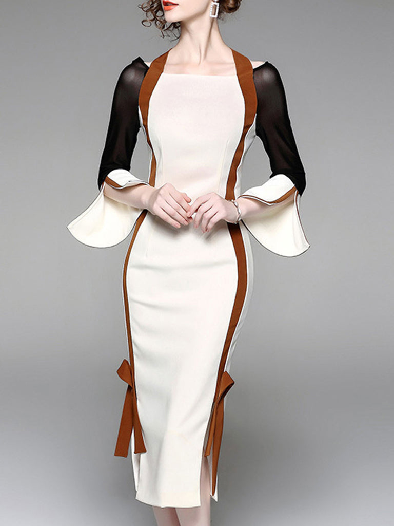 White Color-block Tie-neck Elegant Sheath Midi Dress  party dresses