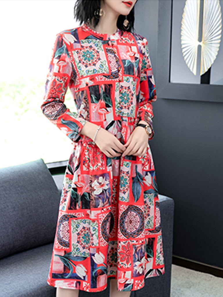 Red Geometric Shirt Collar Elegant Party Cocktail Midi Dresses