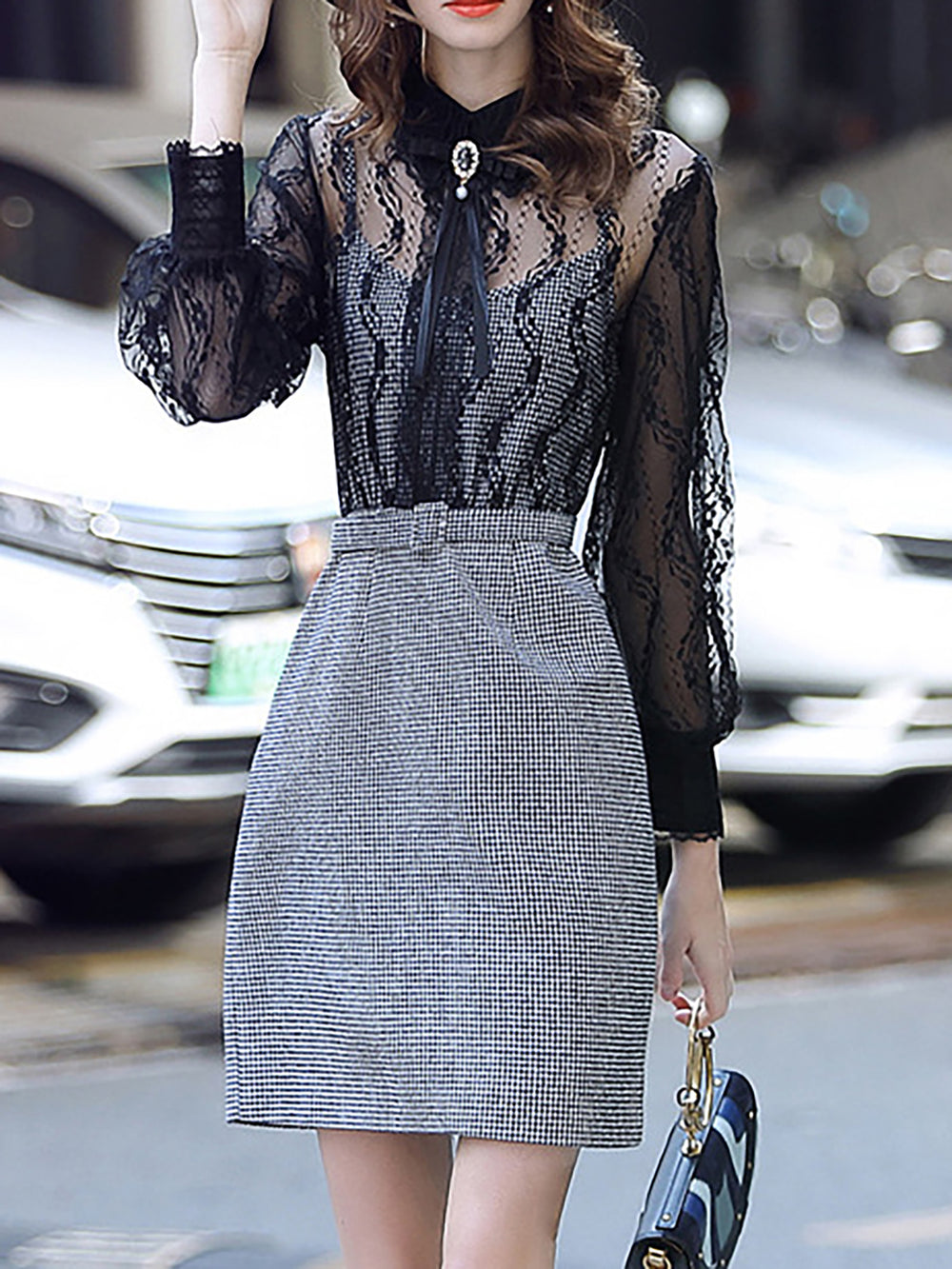 Date Sexy See-Through Look Shirt Collar Lace Paneled Midi Dress
