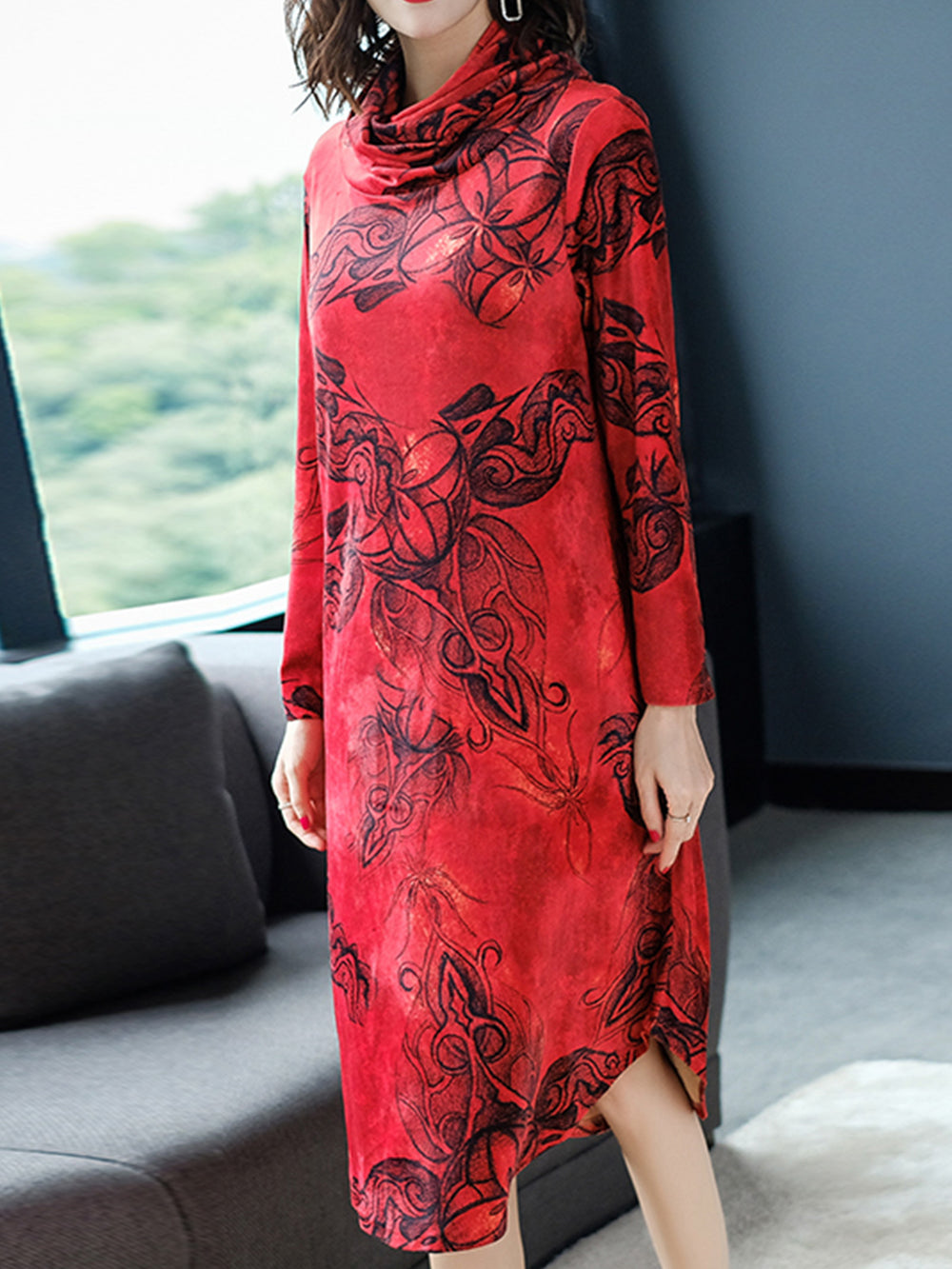 Red Turtleneck Floral Print Statement Daytime Midi Dresses