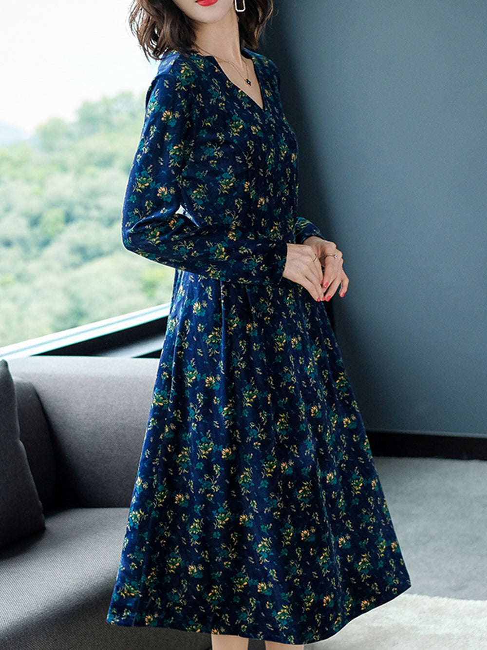 Elegant Floral V Neck Slim Midi Long Dresses