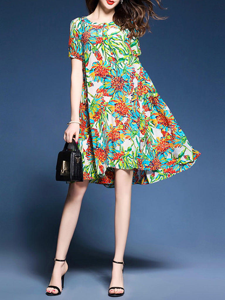 A-line Casual Floral Printed Short Sleeve Dress