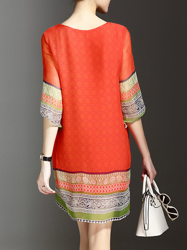 Orange Beaded Tribal 3/4 Sleeve  Dress