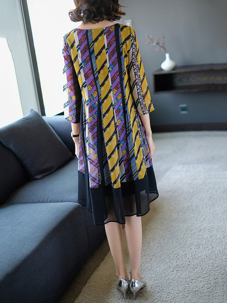 Multicolor  Crew Neck 3/4 Sleeve Dress