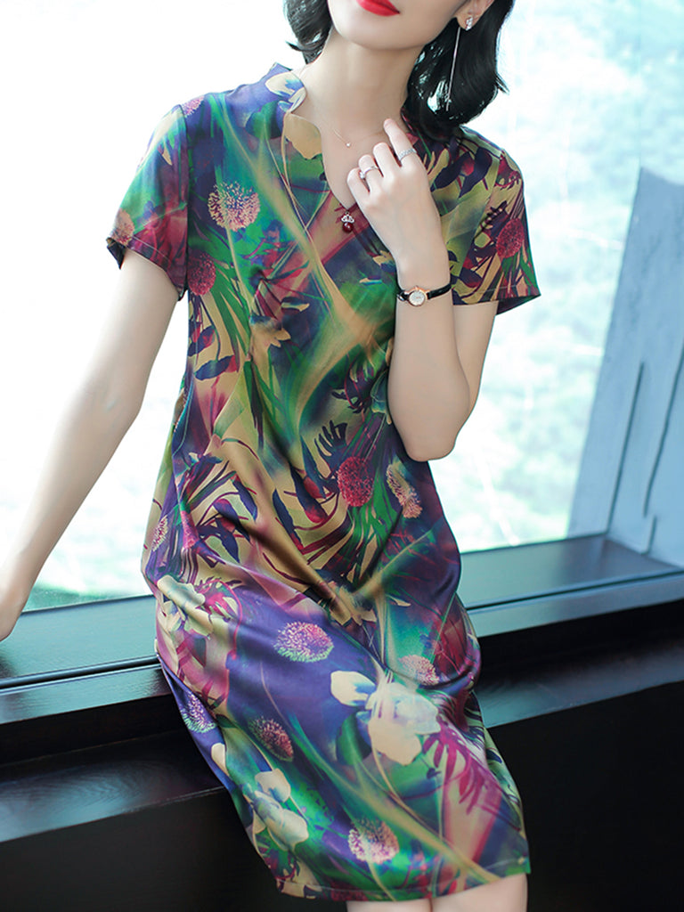 Floral Printed Stand Collar Elegant Dress