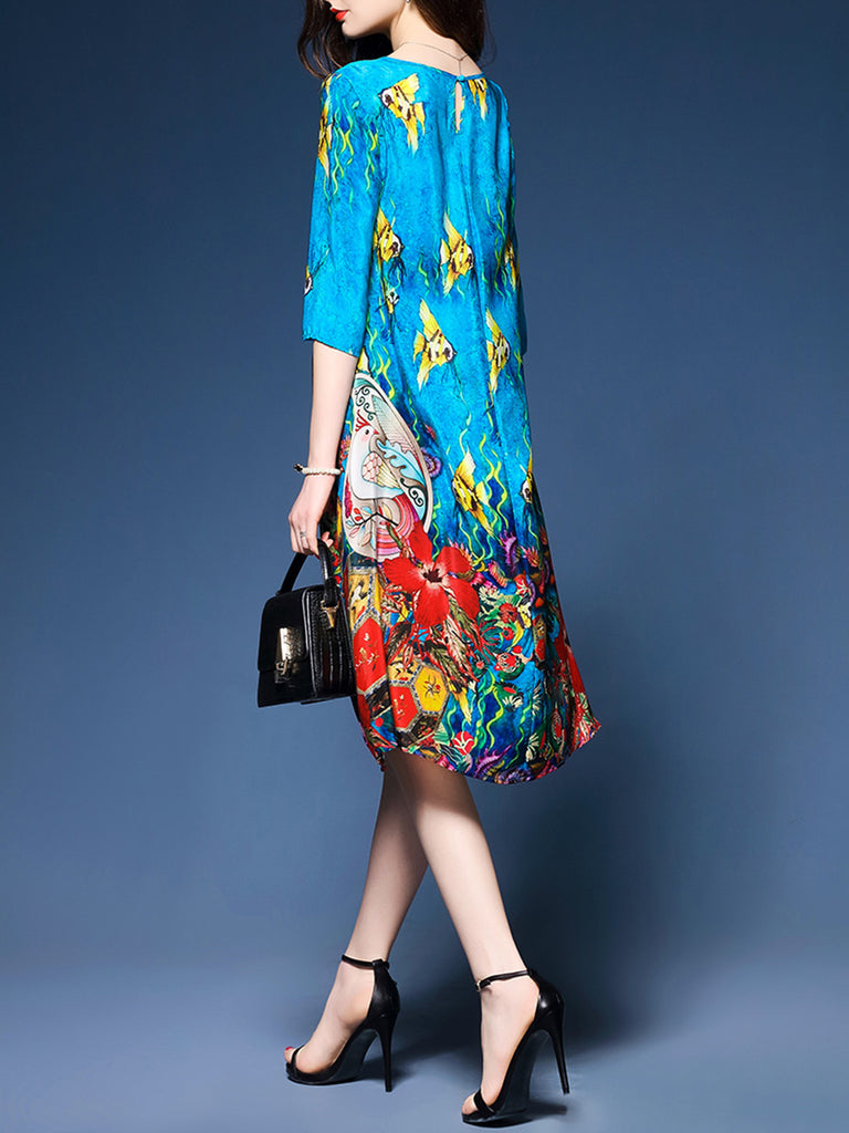 Blue Asymmetric Elegant A-line Crew Neck Printed Dress