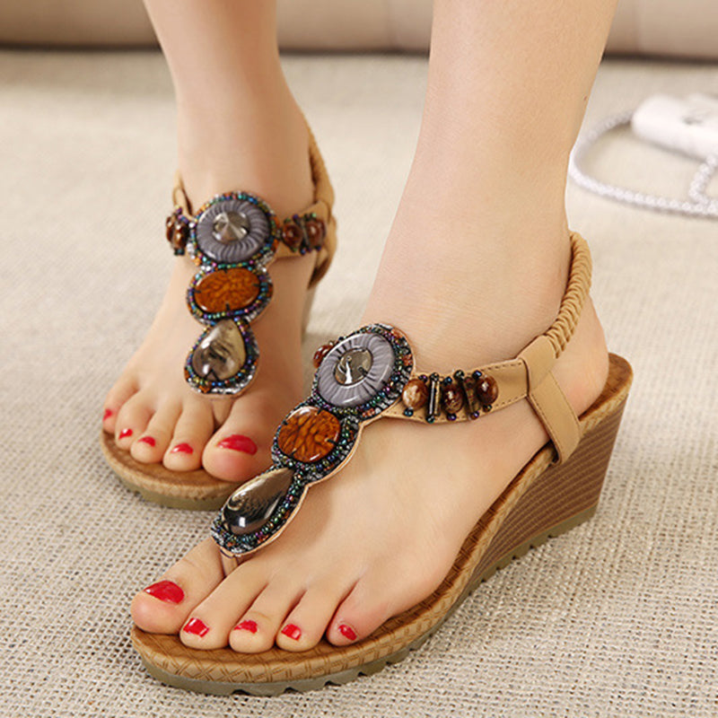 Bohemia Beading Daily Flat Heel Slip-On Sandals