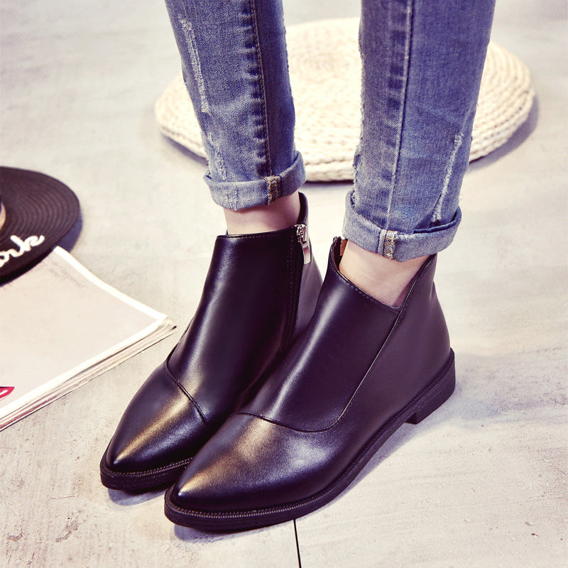 Black Women's Zipper Slip-On Boots
