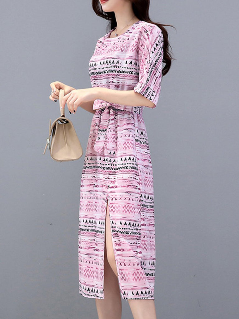 Pink Geometric A-line Elegant Dress