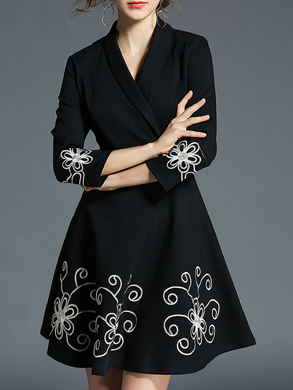 Black Elegant Cotton Floral Dress