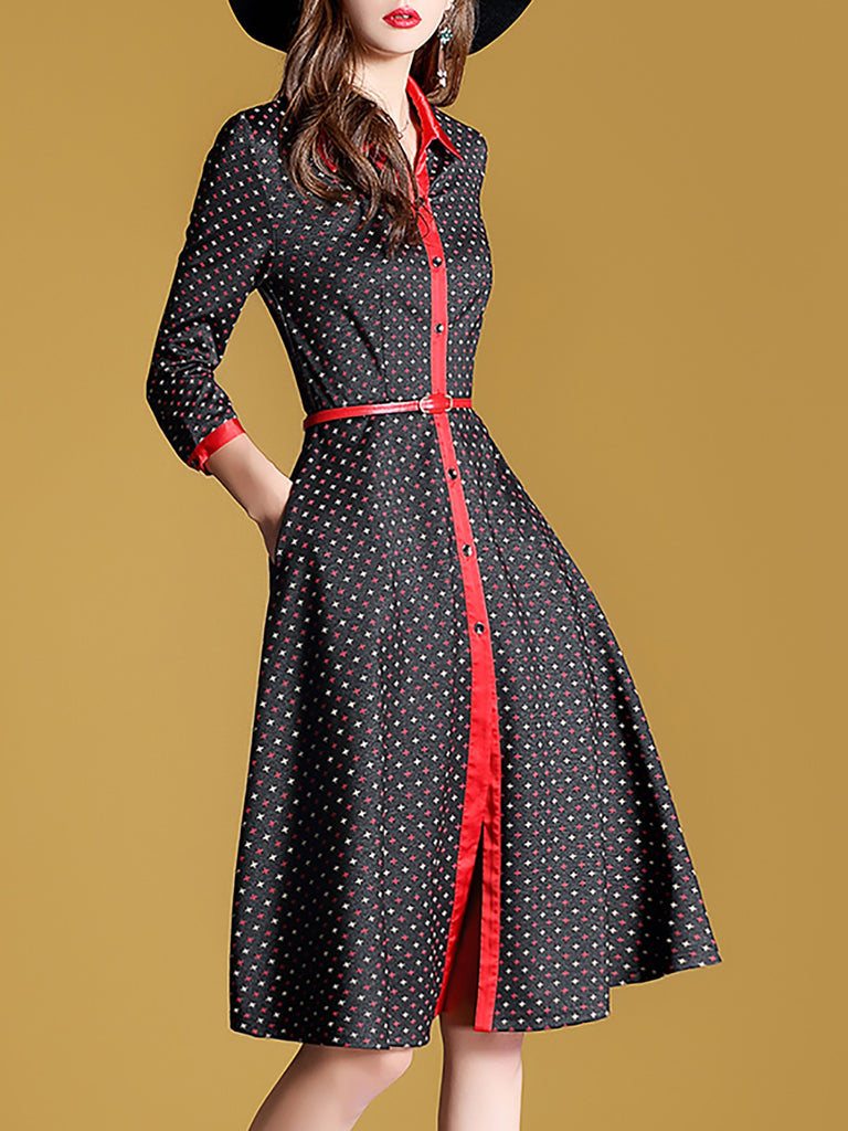 Shirt Collar Multicolor A-Line Elegant Paneled Midi Dress With Belt