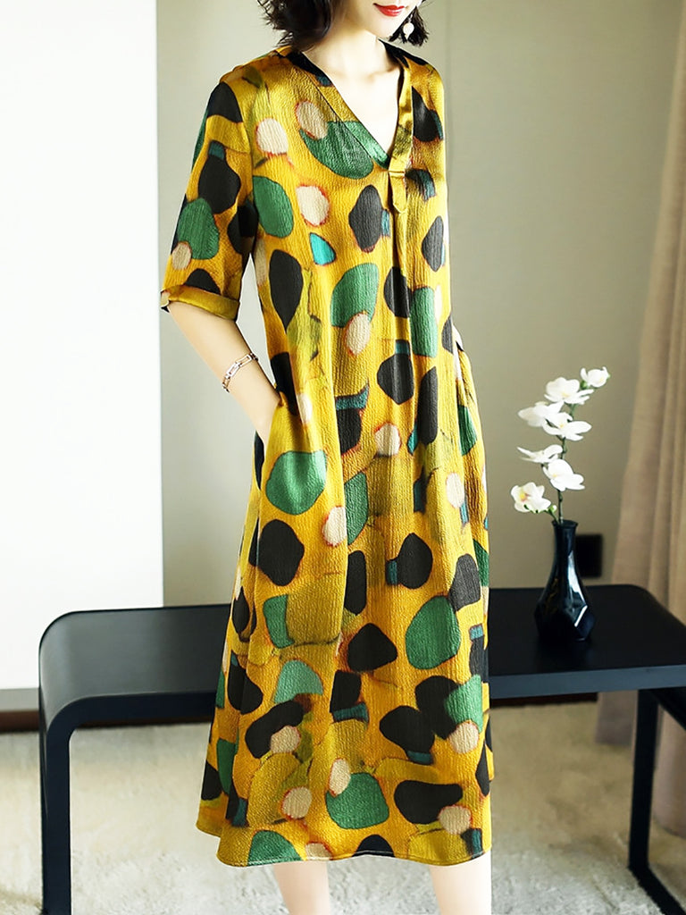 V Neck Shift Casual Printed Half Sleeve Midi Dress