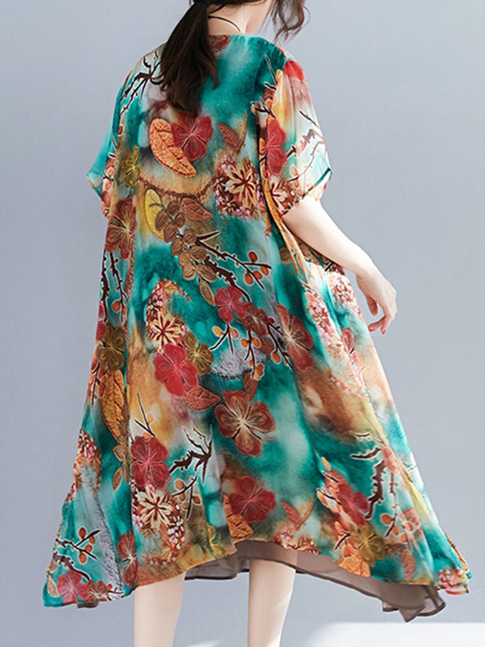 Plus Size Multi-color Floral Chiffon Casual Dresses