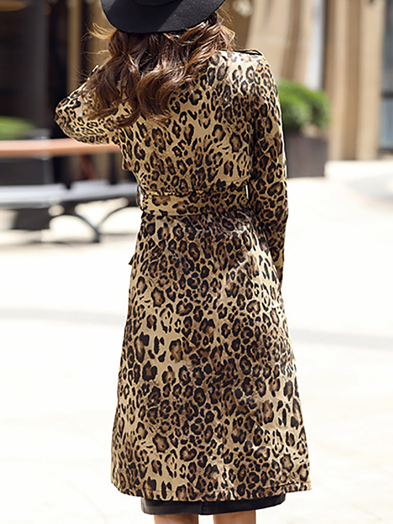 Brown Shift Lapel Leopard Print Casual Trench Coat