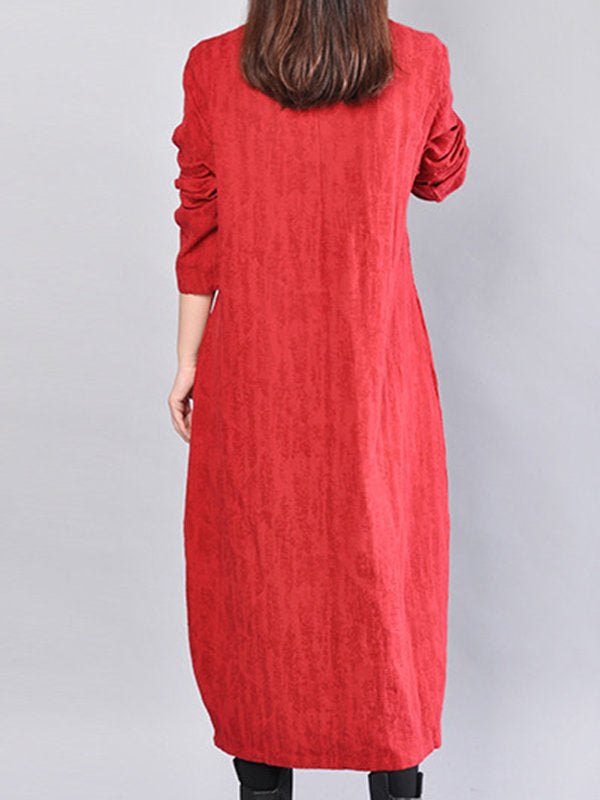 Printed Long Sleeve Cotton Casual Linen Dress
