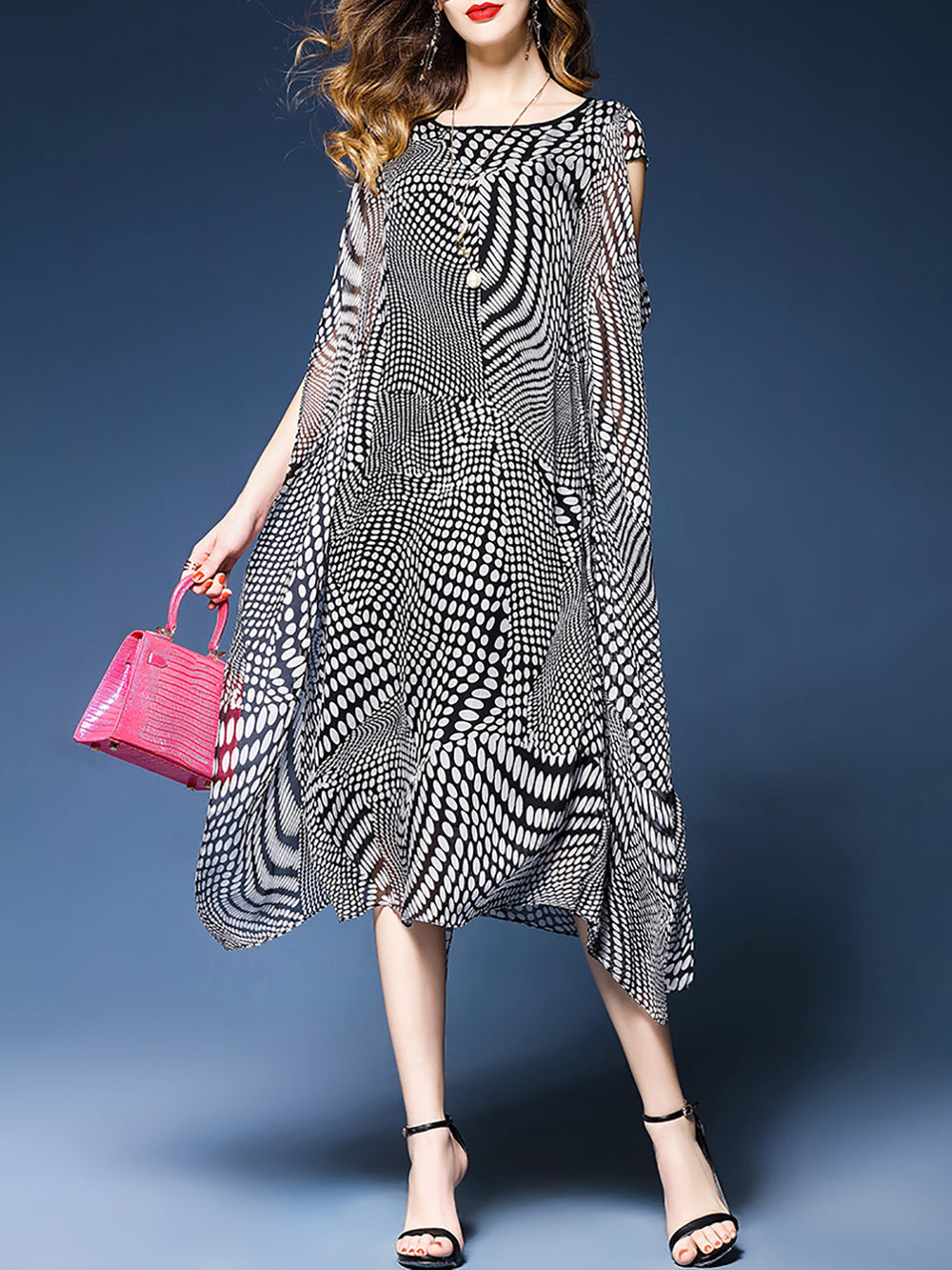 Printed Chiffon Casual Asymmetrical Short Sleeve Midi Dress