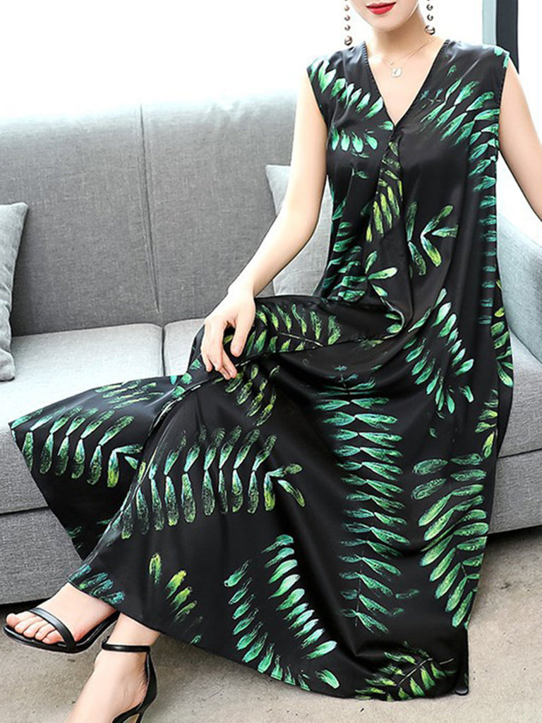 Green V-neck Leaf Pockets Elegant A-line Dress