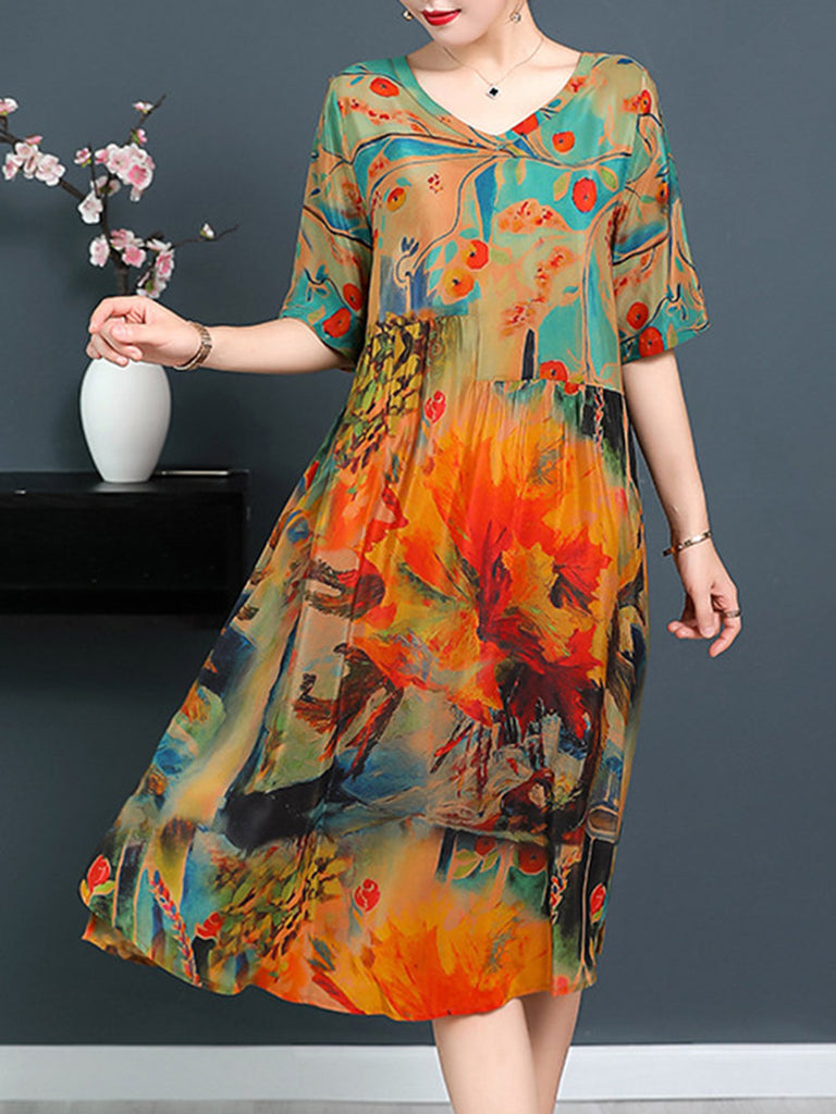 Half Sleeve Casual V-Neck Dress