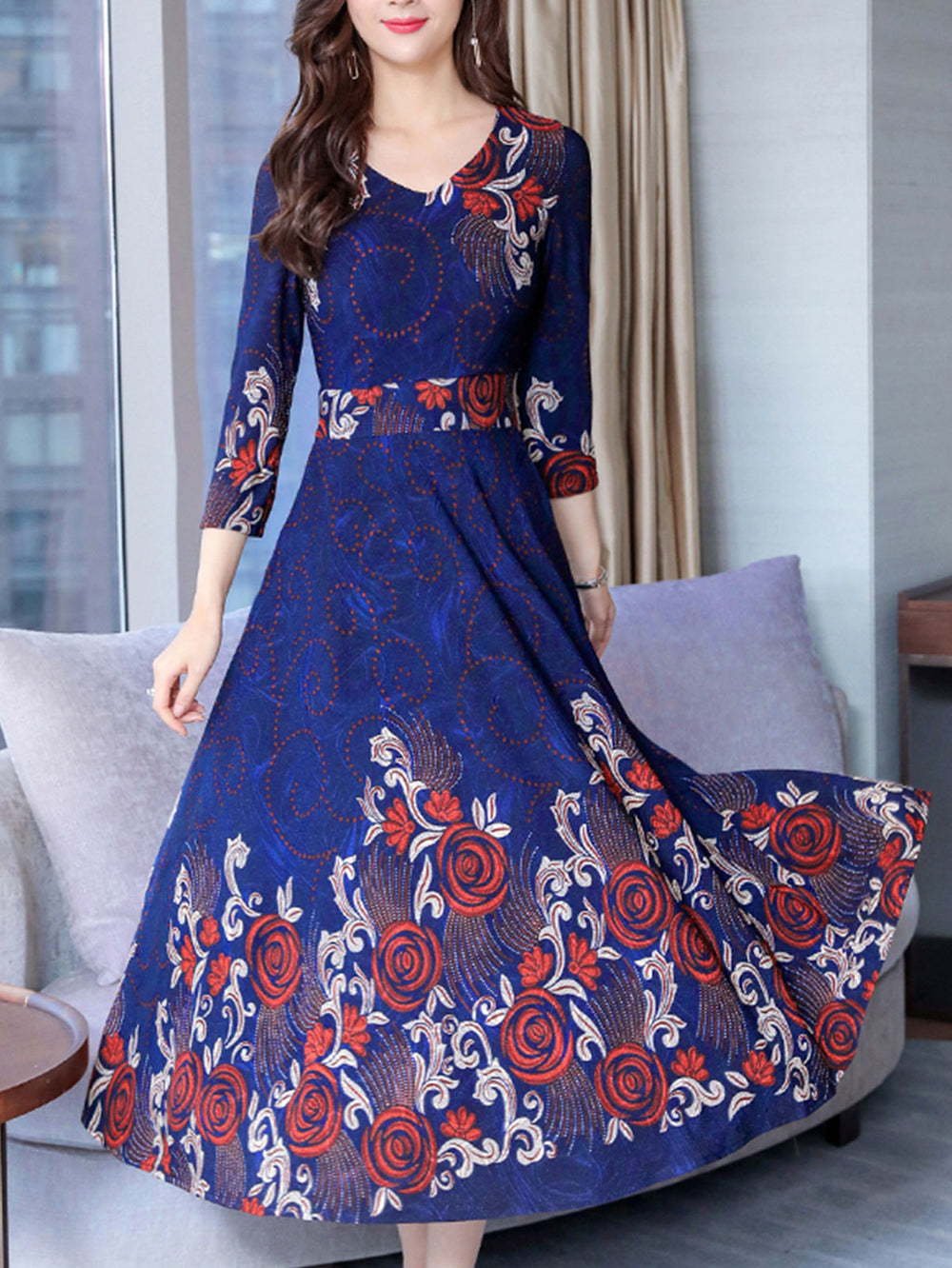 Floral Printed Maxi Holiday Daytime Party Midi Long Dresses