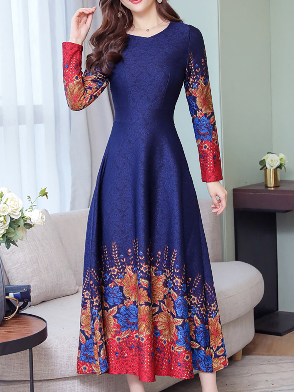 A-Line Date Casual Floral Cotton Midi Dress