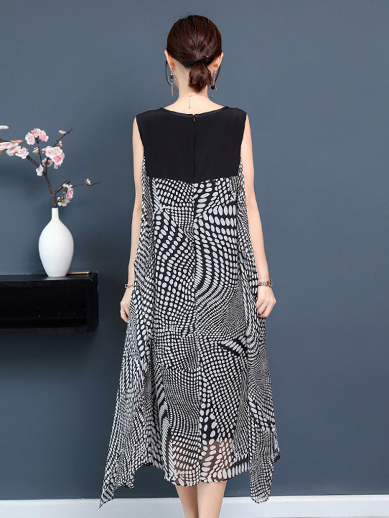Chiffon Geometric Paneled Casual Midi Dress
