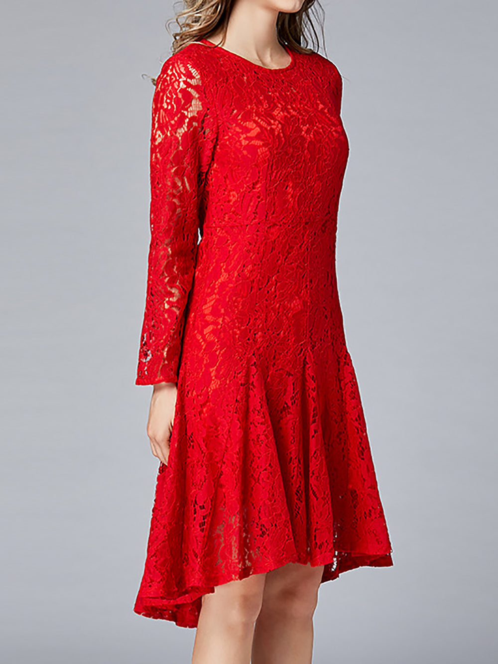 Red Flounce Date Sweet Long Sleeve Guipure Lace Cocktail Midi Dress