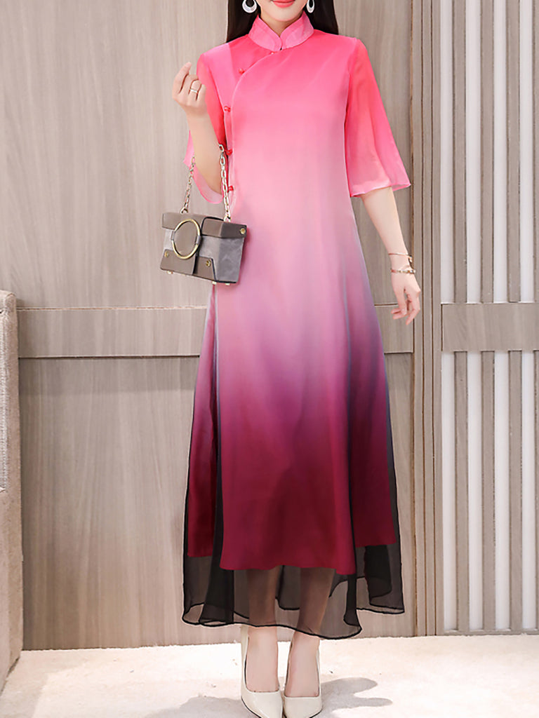 Stand Collar Casual Half Sleeve Shift Chiffon Midi Dress