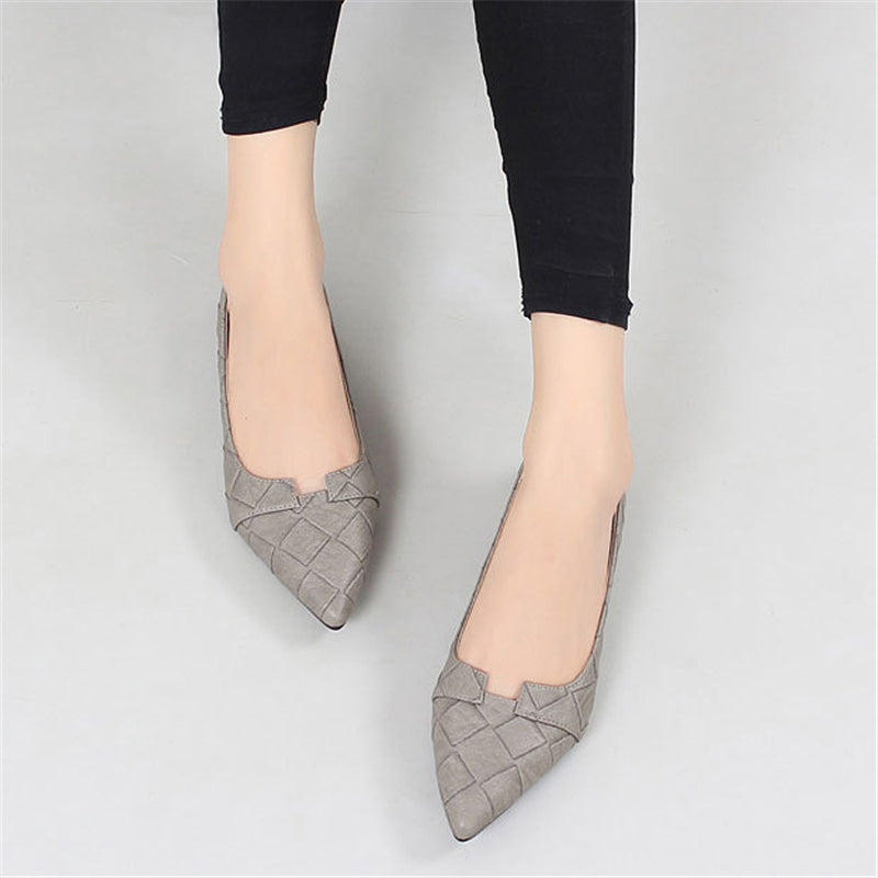 Gray Pointed Toe Women Slip-On Flats