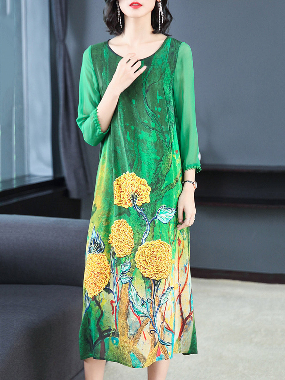 Casual Chiffon Floral Dress