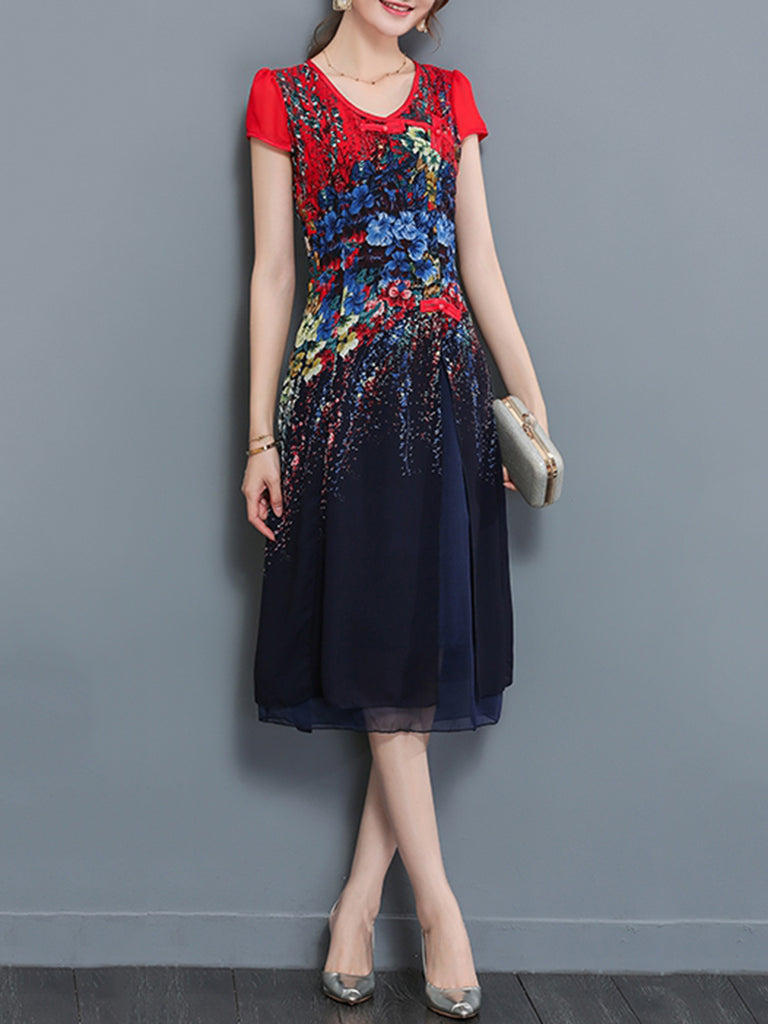 Floral Printed Elegant Buttoned Crew Neck Chiffon Dress