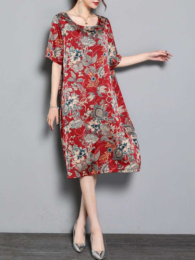 Casual Floral Printed Short Sleeve A-line Dress