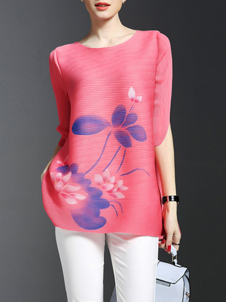 Pink Printed Floral Casual Cotton Tunic