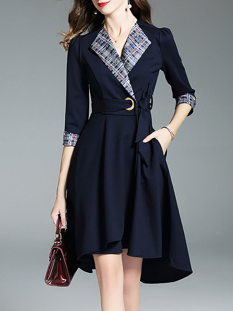 Dark blue Shawl Collar Asymmetric High Low Midi Dress