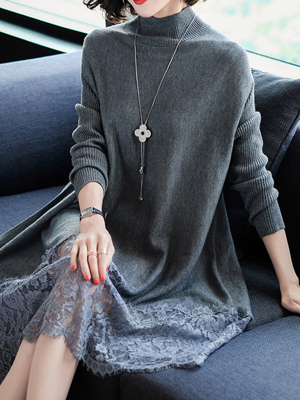 Long Sleeve Casual Lace Paneled Sweater Dress