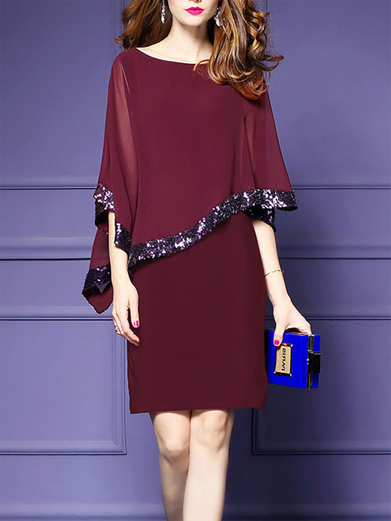 Asymmetric Cape Sleeve Midi Crew Neck Dress