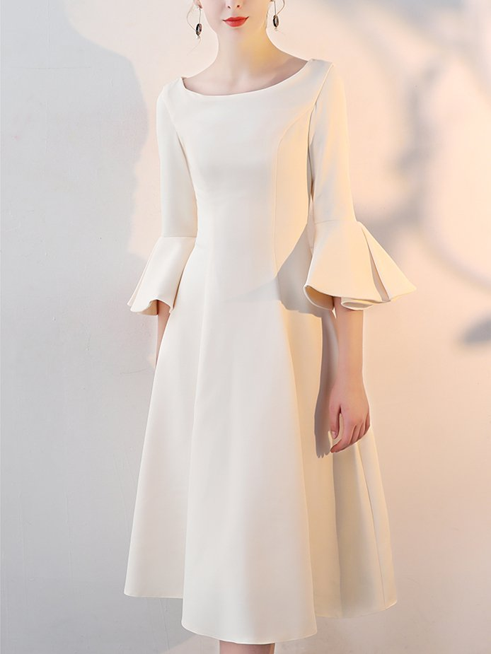 Bell Sleeve Elegant Solid Bateau/boat Neck Dress
