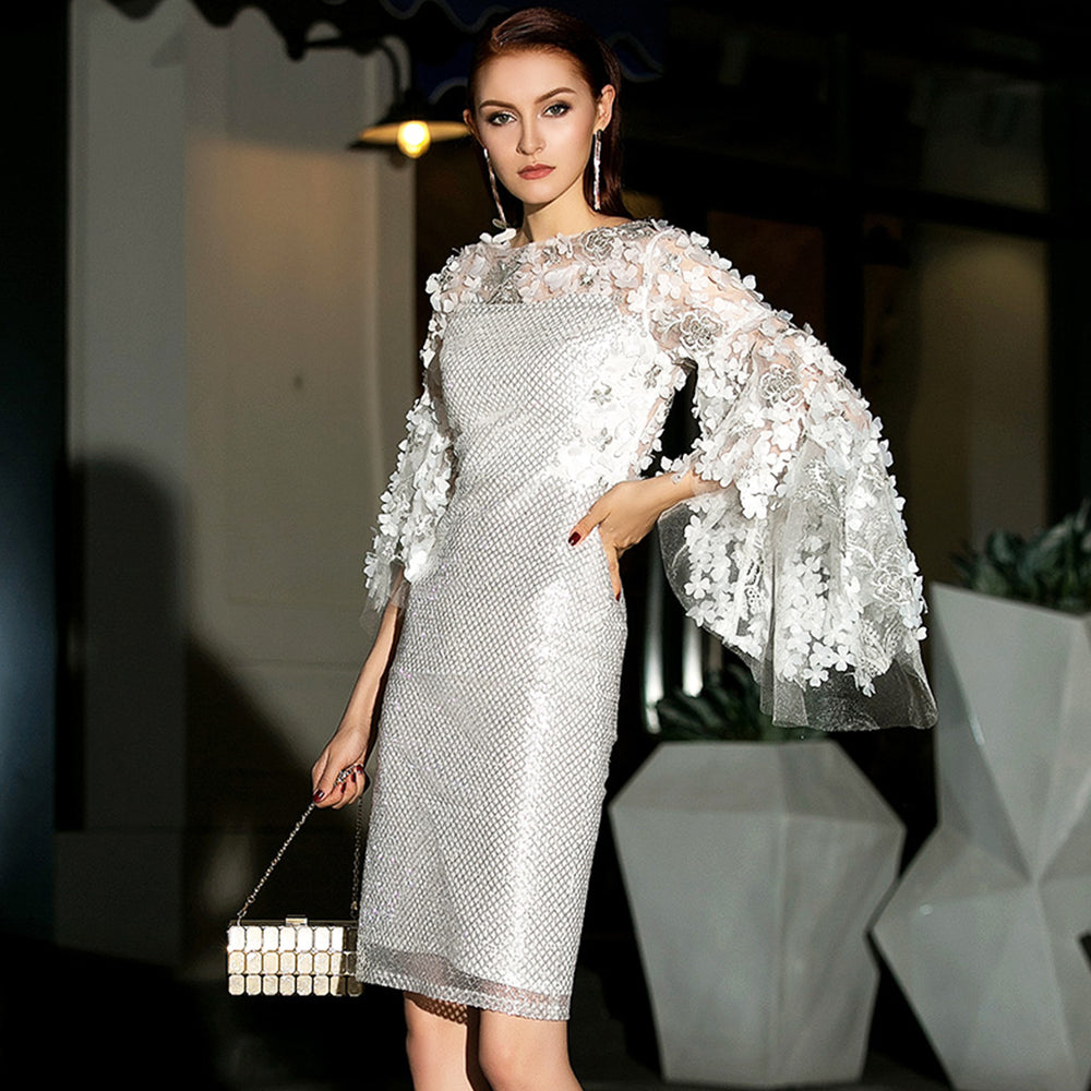 White Lace Luxury Evening Cocktail Annual Party Dating Nightclub Midi Dress