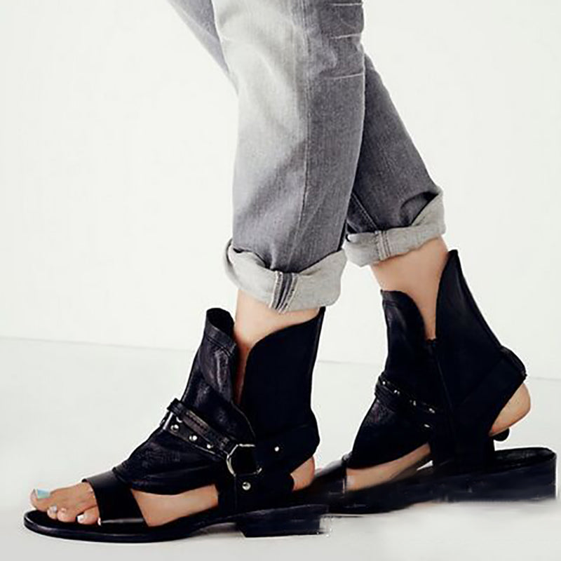 Buckle Daily PU Peep Toe Sandal