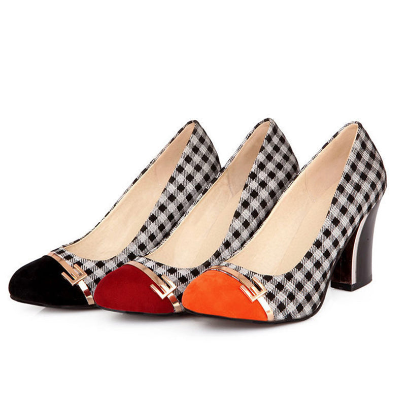 Gingham Round Toe Chunky Pumps