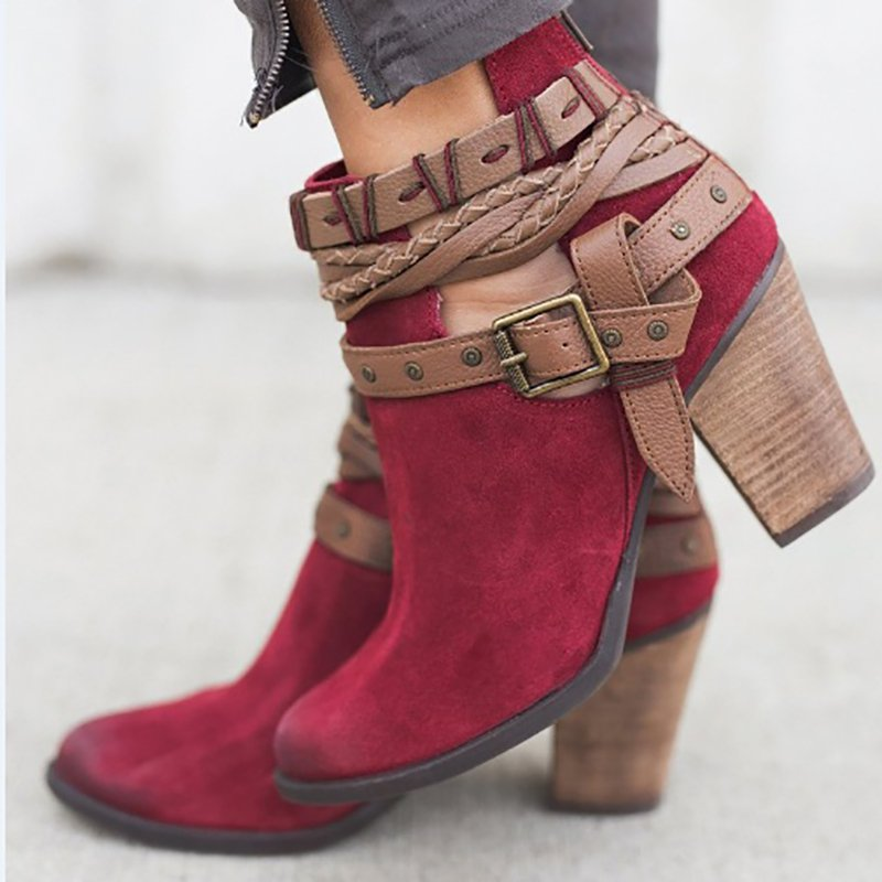 Adjustable Buckle Winter Chunky Heel Boot