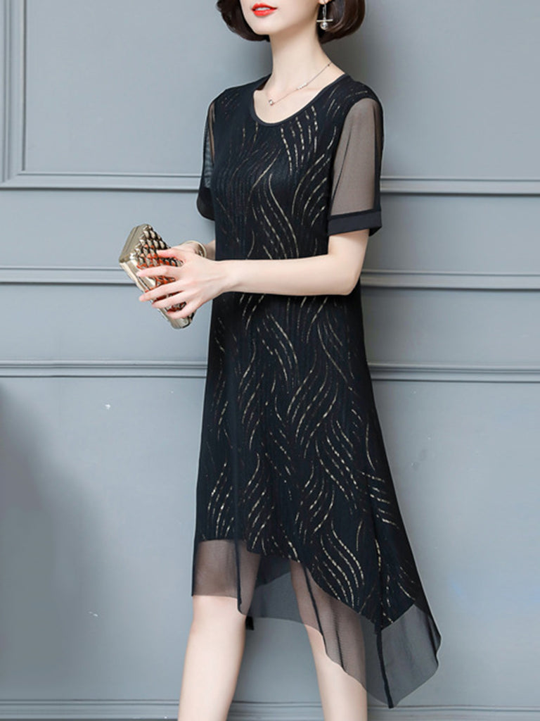 Short Sleeve Chiffon Asymmetrical Elegant  Dress