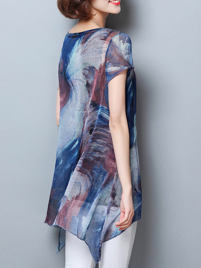 Casual  Short Sleeve Abstract Tunic Top