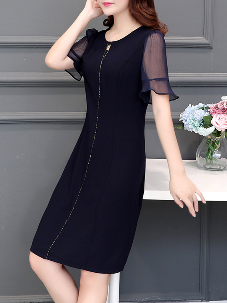 Chiffon  Casual Shift Dress