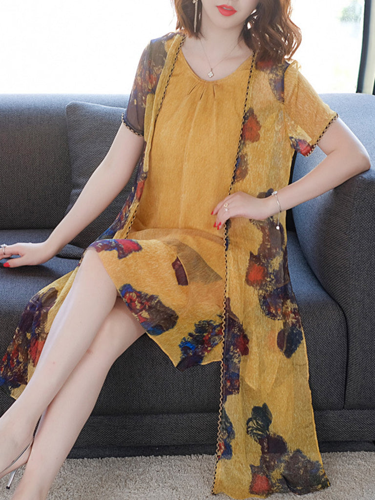 Yellow Casual Two Piece Printed  Women's Sets