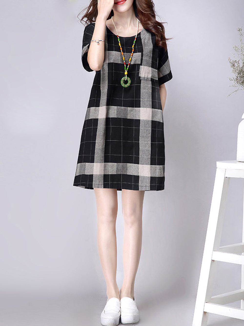 Dark Blue Checkered Pockets Short Sleeve Casual Dress